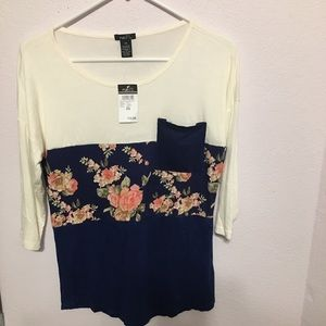NWT Rue 21 XS long sleeve floral T